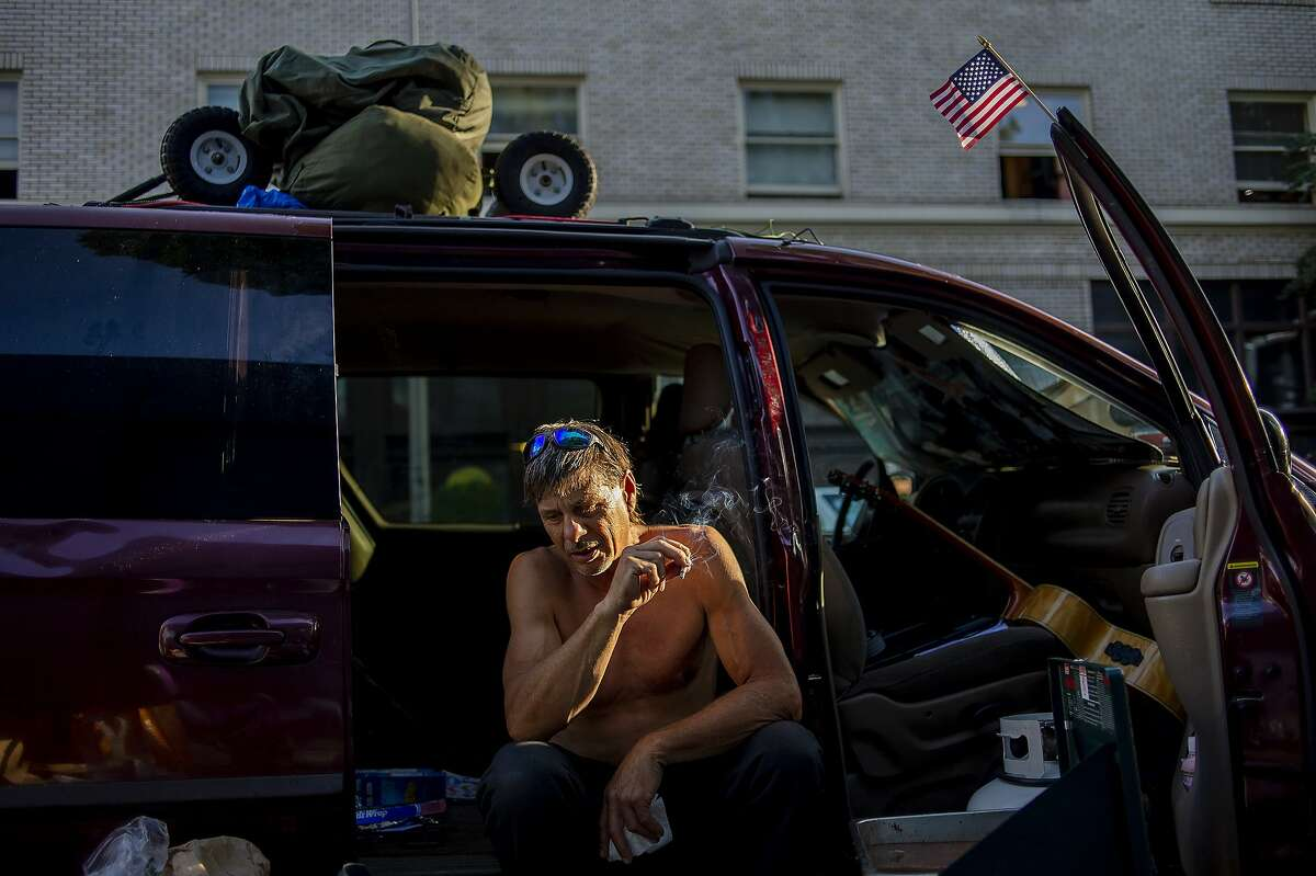 Scott Weber, a veteran Army medic who cooks meals for his fellow homeless in Portland, Ore., Sept. 11, 2019. Portland has spent three years sending hundreds of its homeless residents around the country to destinations where family or friends might help get them back on their feet. But city officials found that of those who could be reached three months later, nearly half had lost their promised housing. (Amanda Lucier/The New York Times)