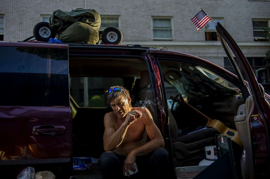 Scott Weber, a veteran Army medic who cooks meals for his fellow homeless in Portland, Ore., Sept. 11, 2019. Portland has spent three years sending hundreds of its homeless residents around the country to destinations where family or friends might help get them back on their feet. But city officials found that of those who could be reached three months later, nearly half had lost their promised housing.  (Amanda Lucier/The New York Times) Photo: Amanda Lucier, NYT