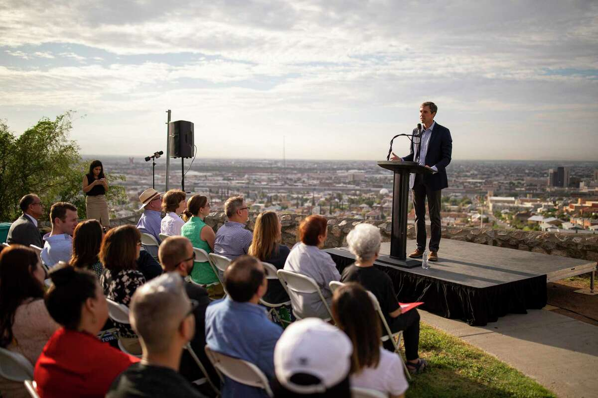 Beto O'Rourke, a Democratic presidential hopeful, gives a speech in El Paso, Texas, on Thursday, Aug. 15, 2019. After the shooting in El Paso, O'Rourke decided to abandon his focus on early primary states and would now plan his political activities around confronting the president over immigration and gun control. (Ivan Pierre Aguirre/The New York Times)