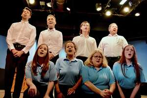 """""""Is There Life After High School?"""" is onstage at The Little Theater in Newtown, Sept. 27 - Oct. 19. Singing from left, bottom, are Simone Matusevice, Emily Volpintesta, Stefanie Rosenberg and Amy Strachan. From left, top, are Joshua Adelson, Zachary Theis, Steven Schmidt and Mike Armstrong."""