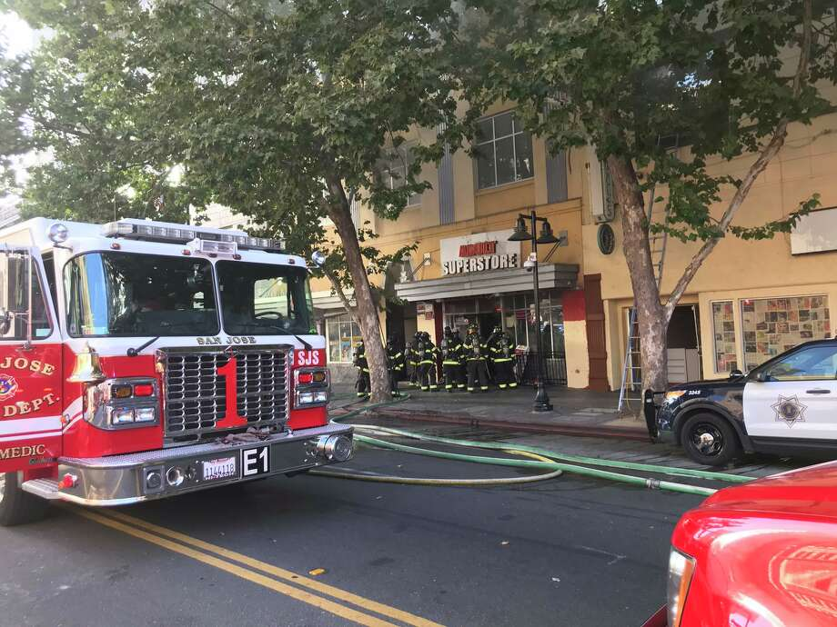 One person has died and four firefighters were injured fighting a three-alarm fire in downtown San Jose Sunday night, a fire investigators believe may have been intentionally set. Photo: San Jose Fire Department