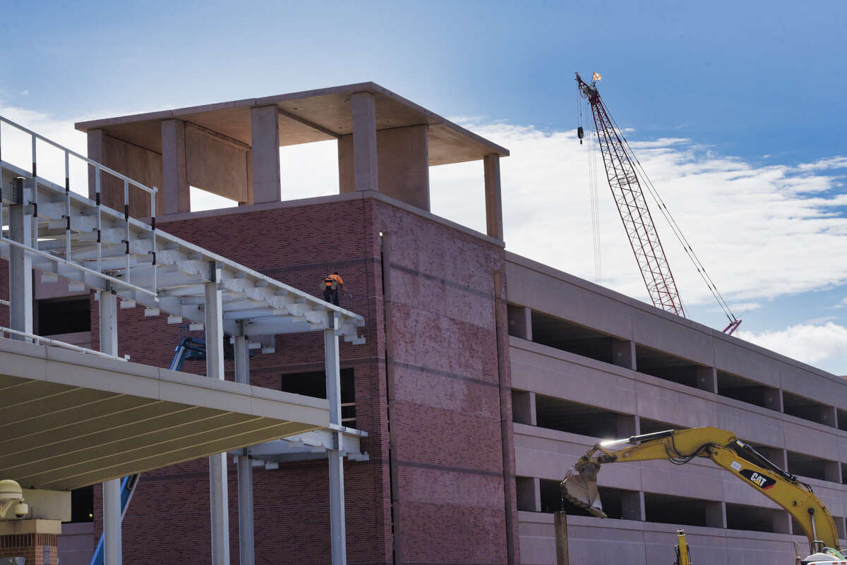 Construction work continues on a new parking garage and walkway at the Albany International Airport on Monday, September 16, 2019, in Colonie, N.Y. (Paul Buckowski/Times Union)