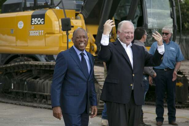 Houston Mayor Sylvester Turner, left, and Leslie Doggett, president and CEO of Doggett Industries, attend the groundbreaking for Doggett Ford's new store, expected to open in October 2020.
