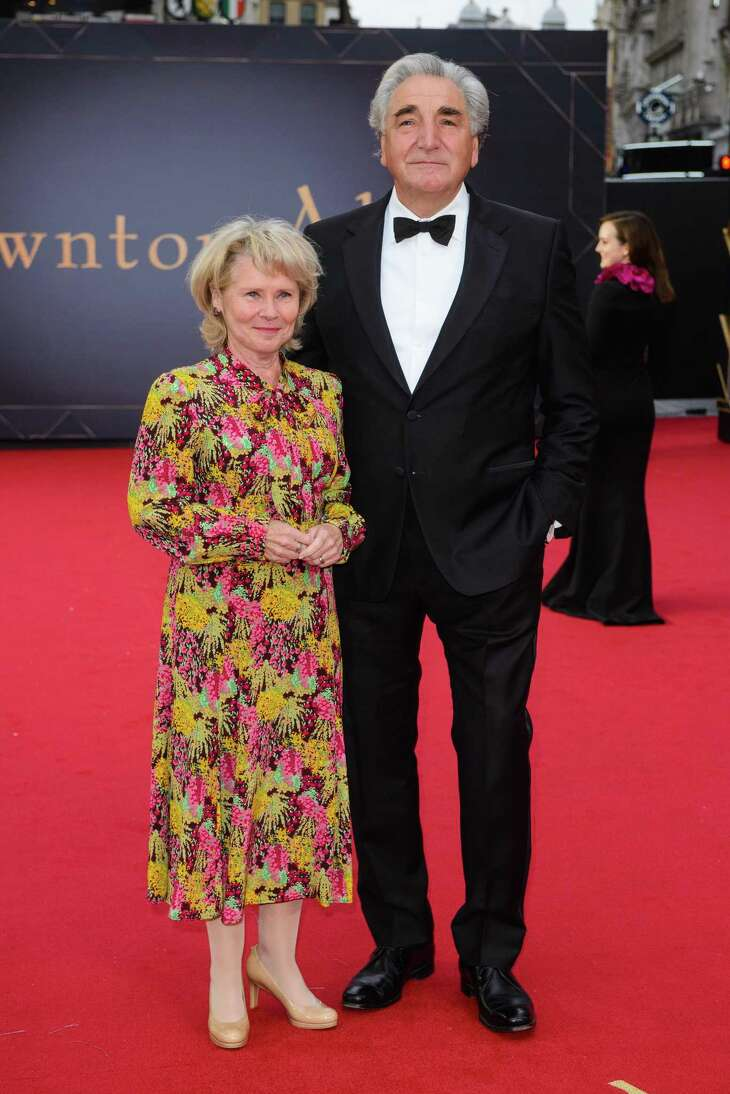 """LONDON, ENGLAND - SEPTEMBER 09: Imelda Staunton and Jim Carter attend the """"Downton Abbey"""" World Premiere at Cineworld Leicester Square on September 09, 2019 in London, England. (Photo by Joe Maher/Getty Images)"""