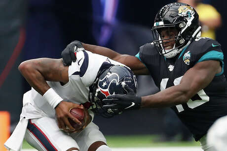 Texans quarterback Deshaun Watson has been sacked 10 times over the first two weeks of the season.