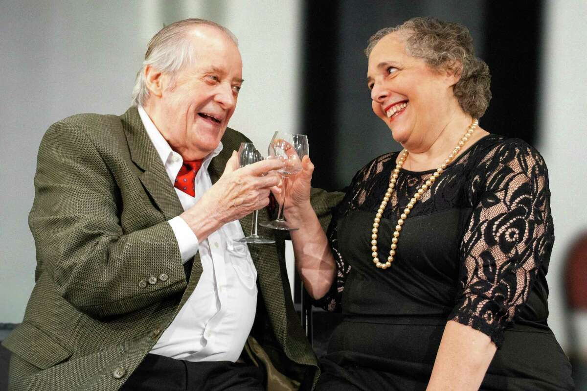 Larry Greeley and Elayne Gordon, playing two widowed, yet lively older characters, enjoy a moment in a scene from