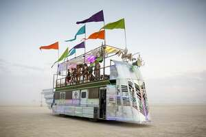 The Pariah Express, an art car built by Emmett Moffett and crew, is one of several dozen big art cars that function as a kind of unofficial public transportation system at Burning Man.