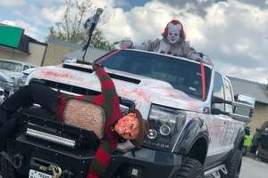 """A San Antonio man has decorated his truck with Freddy Krueger on the grill, """"IT"""" Pennywise on the roof and with """"Jigsaw"""" in the back this Halloween season."""