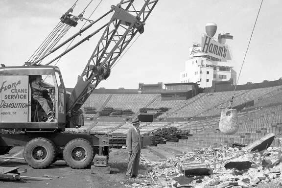 Demolition of Seals Stadium November 4, 1959 H.J. Brunnier watches as the wrecking ball slams into the wall.