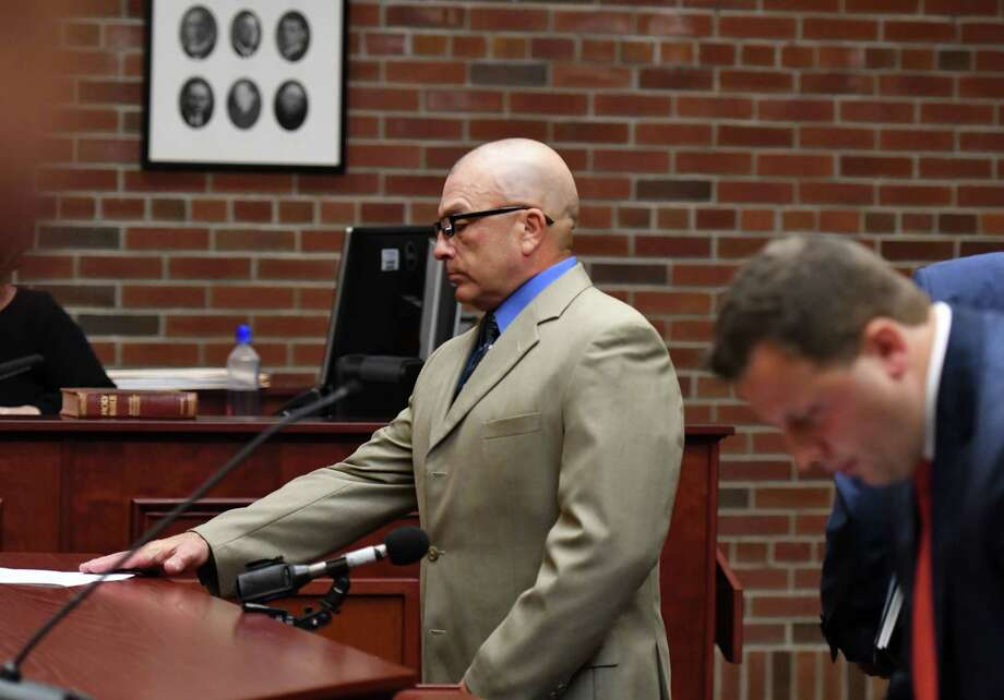 Dickie Winn, left, the 59-year-old Cohoes man charged with vehicular homicide and manslaughter charges in connection with a crash that killed two in Clifton Park this summer, pleads guilty before Saratoga County Court Judge James A. Murphy III on Monday, Sept.16, 2019, in Ballston Spa, N.Y. He is scheduled for sentencing in November. (Will Waldron/Times Union) Photo: Will Waldron, Albany Times Union / 20047833A