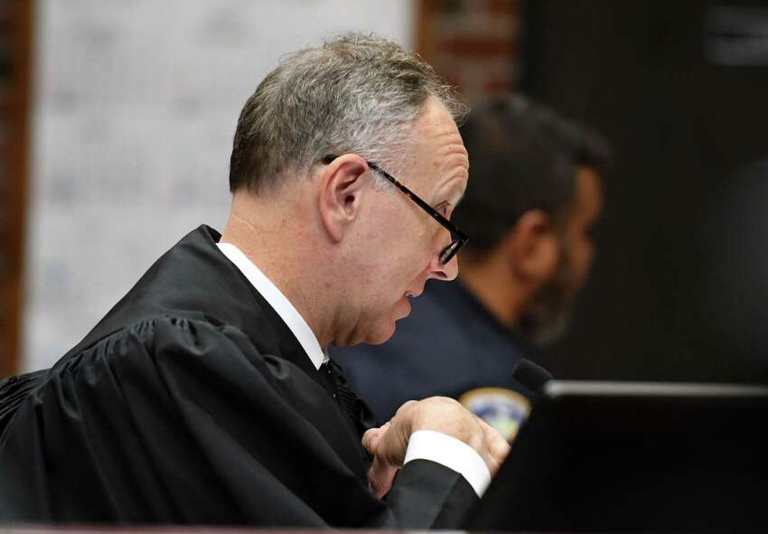 Saratoga County Court Judge James A. Murphy III accepts a guilty plea from Dickie Winn, the 59-year-old Cohoes man charged with vehicular homicide and manslaughter charges in connection with a crash that killed two in Clifton Park this summer, on Monday, Sept.16, 2019, at the Saratoga County Courthouse in Ballston Spa, N.Y. Winn is scheduled for sentencing in November. (Will Waldron/Times Union)