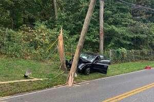 A car crashed into a pole on Main Street South on Sept. 14, 2019.