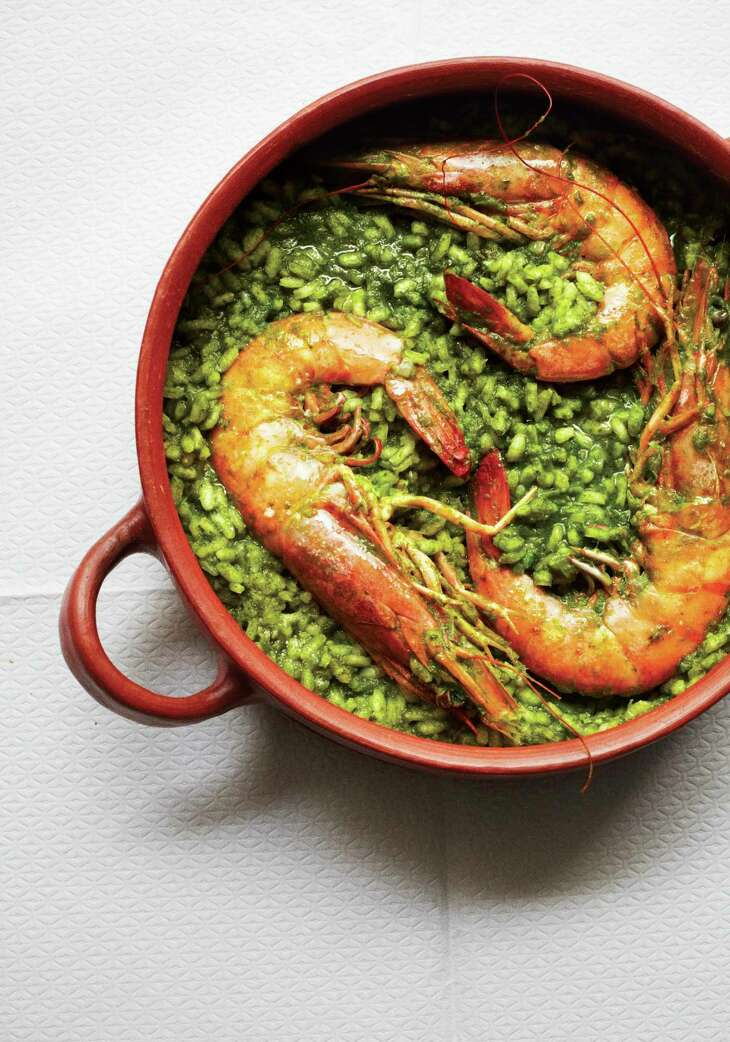 "Arroz Verde con Camarones is a recipe using arborio rice from ""My Mexico City Kitchen"" by Gabriela Camara."