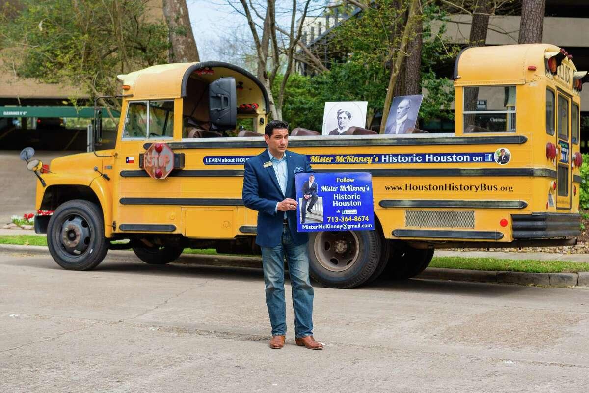 Mister McKinney with his Houston History Bus runs tours of historic Houston for school children.