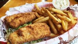 The fish basket with fries at Longhorn Cafe