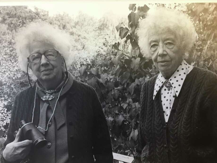 "Here is a picture of Helen and Alice Bristow from around 1971 when the Bristow Bird Sanctuary and Wildwood Preserve was named in their honor! ""What a wonderful pair,"" Chairman of the Conservation Commission Chris Schipper said as he brought the picture to the attention of the New Canaan Advertiser. Photo: Contributed Photo / New Canaan Museum And Historical Society"