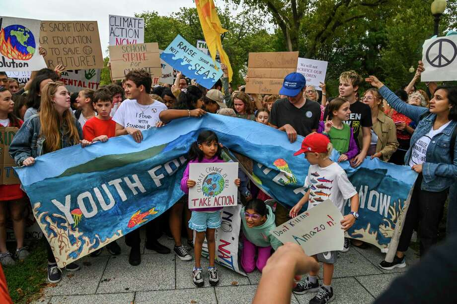 Young climate activists participate in a climate strike demonstration outside the White House on Sept. 13, 2019, in Washington, D.C. Photo: Washington Post Photo By Jahi Chikwendiu / The Washington Post