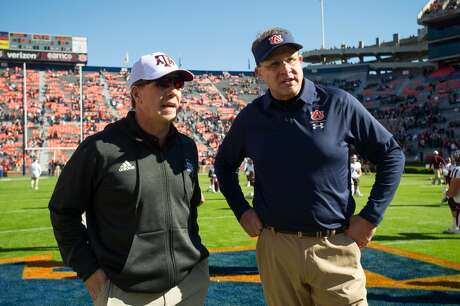Jimbo Fisher (left) and Gus Malzahn will match wits for the third time since 2013 when Texas A&M and Auburn clash Saturday in College Station.