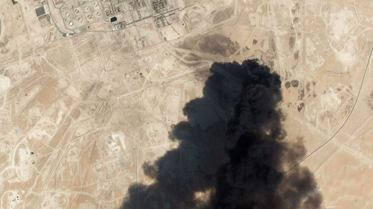 This satellite overview handout image obtained September 16, 2019 courtesy of Planet Labs Inc. shows damage to oil/gas infrastructure from weekend drone attacks at Abqaig on September 14 2019 in Saudi Arabia. - Drone attacks on key Saudi oil facilities have halved crude output from OPEC's biggest exporter, catapulting oil prices by the largest amount since the first Gulf War. The crisis has focused minds on unrest in the crude-rich Middle East, with Tehran denying Washington's charge that it was responsible.Brent oil prices leapt 20 percent on Monday to chalk up the biggest intra-day daily gain since 1991. (Photo by HO / PLANET LABS INC. / AFP) / RESTRICTED TO EDITORIAL USE - MANDATORY CREDIT