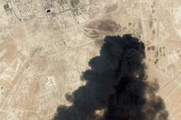 "This satellite overview handout image obtained September 16, 2019 courtesy of Planet Labs Inc. shows damage to oil/gas infrastructure from weekend drone attacks at Abqaig on September 14 2019 in Saudi Arabia. - Drone attacks on key Saudi oil facilities have halved crude output from OPEC's biggest exporter, catapulting oil prices by the largest amount since the first Gulf War. The crisis has focused minds on unrest in the crude-rich Middle East, with Tehran denying Washington's charge that it was responsible.Brent oil prices leapt 20 percent on Monday to chalk up the biggest intra-day daily gain since 1991. (Photo by HO / PLANET LABS INC. / AFP) / RESTRICTED TO EDITORIAL USE - MANDATORY CREDIT ""AFP PHOTO / Planet Labs Inc. / HO"" - NO MARKETING NO ADVERTISING CAMPAIGNS - DISTRIBUTED AS A SERVICE TO CLIENTS == NO ARCHIVEHO/AFP/Getty Images"