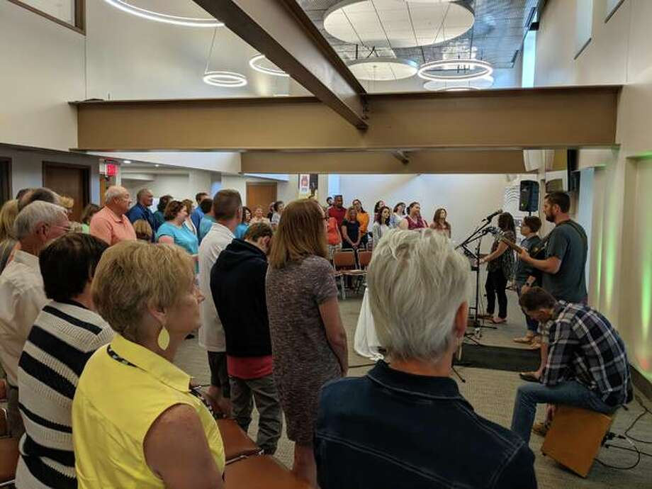 A band plays during The Connection Faith Community Kick-off Sunday and Launch Party on Sunday morning. The worship gathering took place at the Manny Jackson Center in Edwardsville Photo: Courtesy Photo