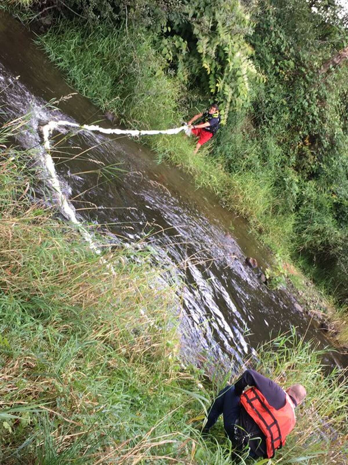 Crews putting an oil absorbent line across Woods Creek to catch any leaking oil.A truck hauling septic vaults on Sept. 16 was crossing a bridge over Woods Creek in Monroe, Washington when it collapsed, according to Snohomish County fire officials. There were no reported injuries.
