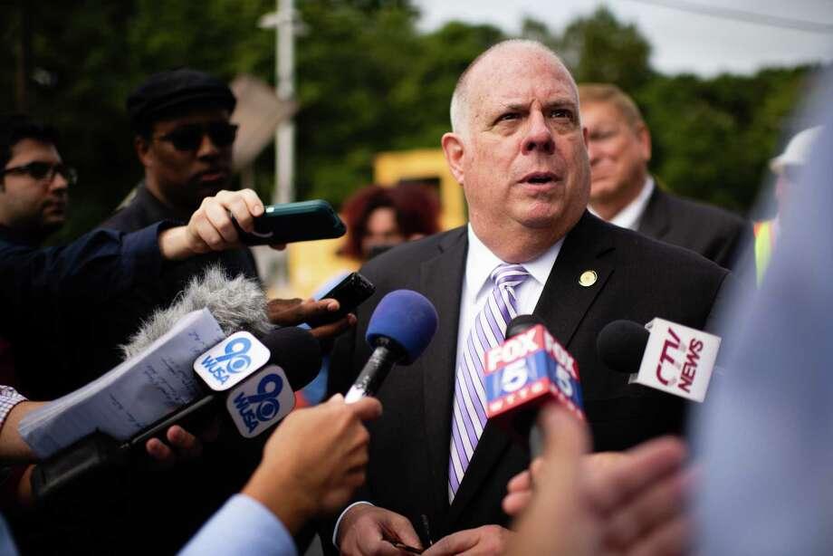 Maryland Gov. Larry Hogan talks to reporters in Lanham, Maryland, on Thursday, Sept. 5, 2019. Photo: Washington Post Photo By Sarah L. Voisin. / The Washington Post