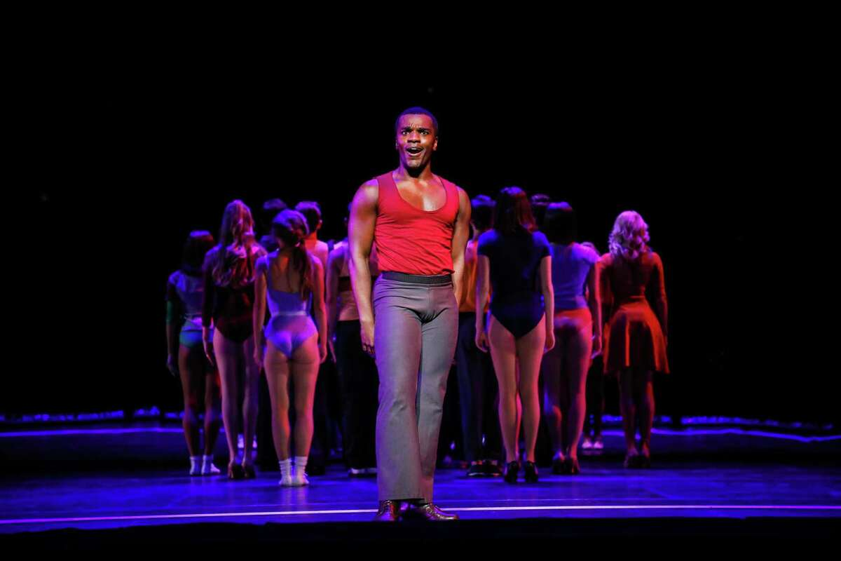 """Sharrod Williams as """"Richie"""" and the Cast of the current TUTS production of A Chorus Line."""