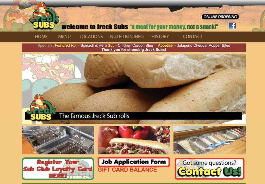 A Sept. 16, 2019, screenshot shows the homepage for Jreck Subs in New York. The franchise is up for auction by the U.S. Marshals in fall 2019. Photo: Www.jrecksubs.com