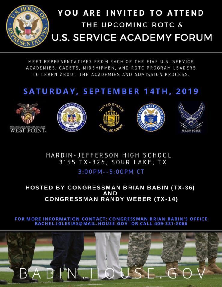 Babin, Weber to host U.S. Service Academy, ROTC forum