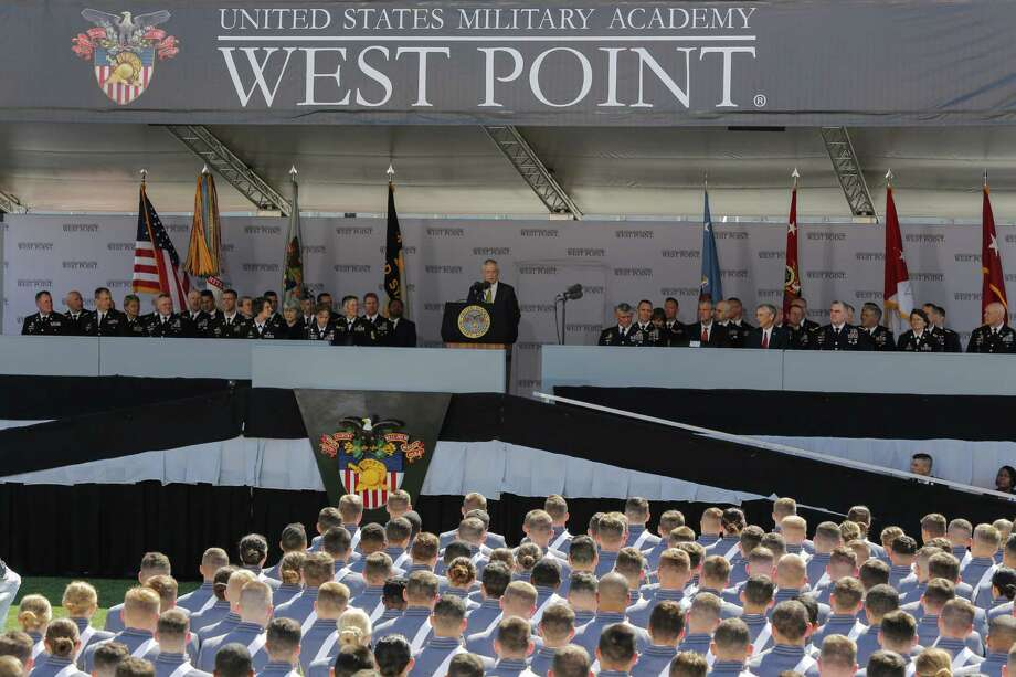 WEST POINT, NY - MAY 27:  U.S. Defense Secretary Jim Mattis (C) speaks to West Point graduates during the U.S. Military Academy Class of 2017 graduation ceremony at Michie Stadium on May 27, 2017 in West Point, New York. Secretary Mattis addressed the 950 graduating cadets during the ceremony. (Photo by Eduardo Munoz Alvarez/Getty Images) ORG XMIT: 700054230 Photo: Eduardo Munoz Alvarez / 2017 Getty Images
