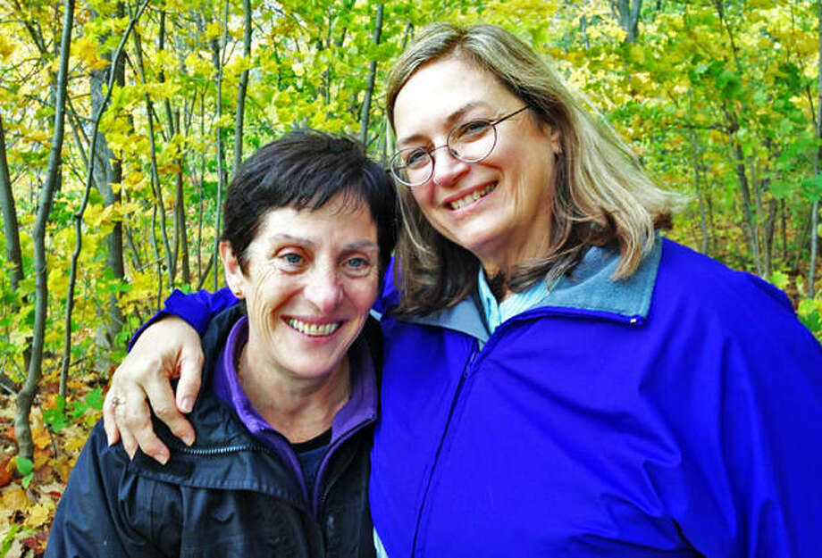 Annie Almoguera, of Brioude, France, left, and Mary Wilson, of Highland, are pictured together in Canada a few years ago when the longtime penpals finally met in person. The duo began exchanging letters 46 years ago. This summer Almoguera visited Wilson as part of a 16-day trip to the U.S. Photo: Photos Courtesy Of Mary Wilson