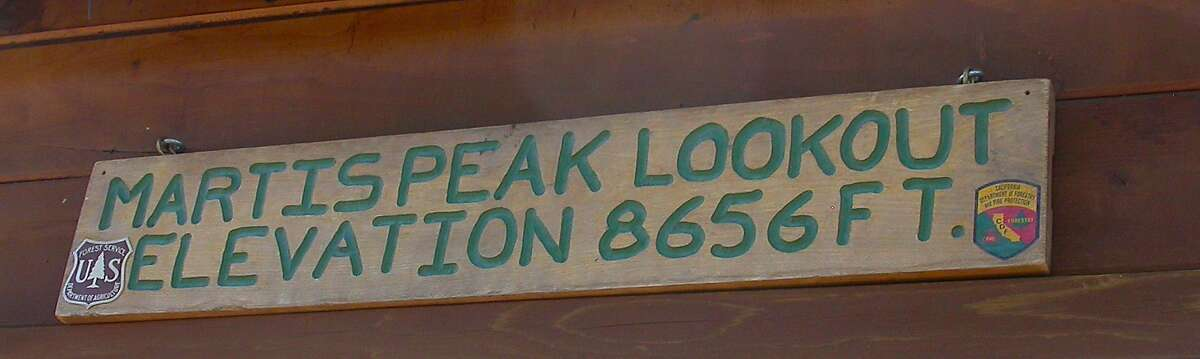 An elevation sign marks the lookout station at Martis Peak at North Tahoe