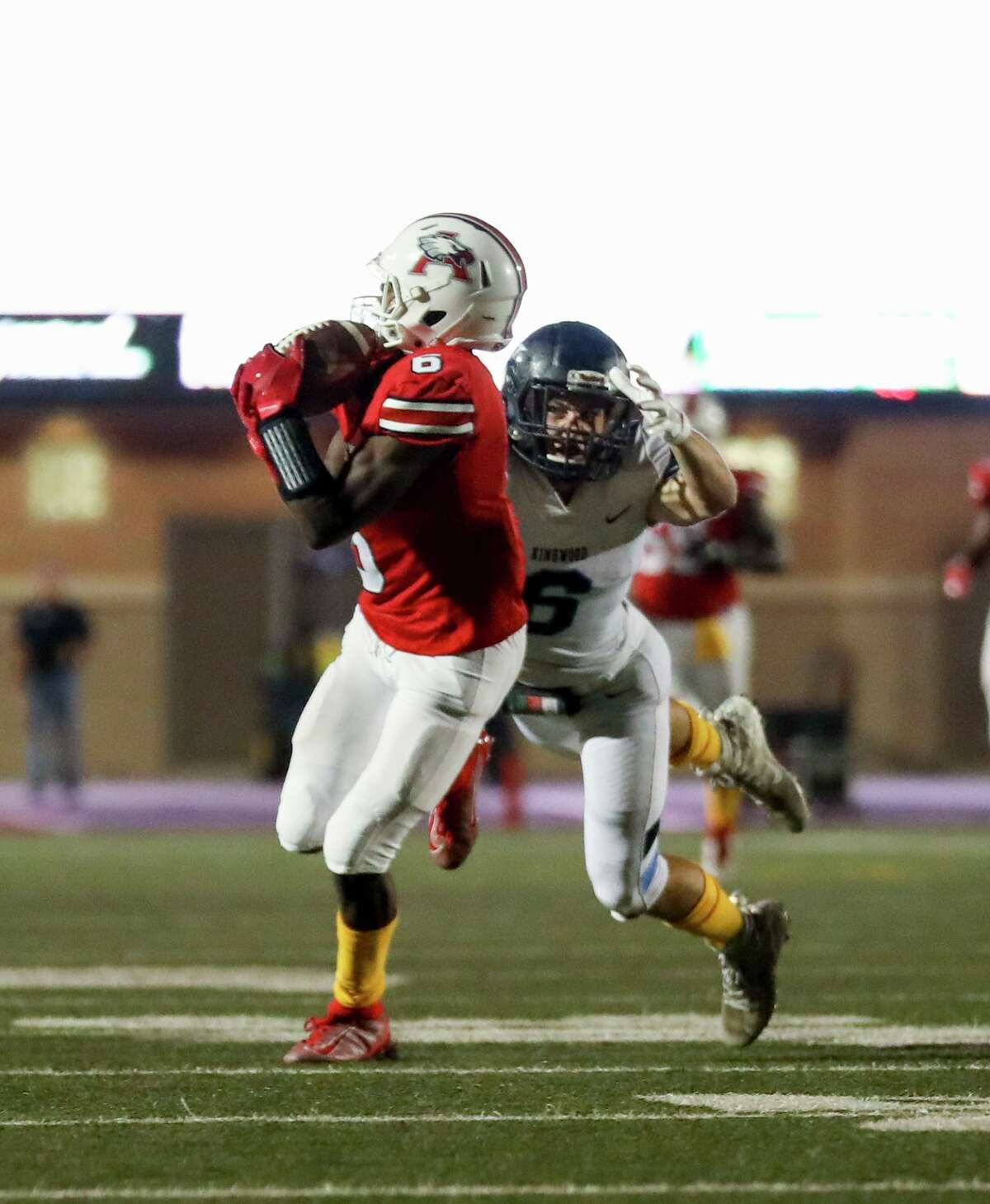 Atascocita Eagles A.J. Bobb (6) makes a catch during a conference football game between the Kingwood Mustangs and the Atascocita Eagles on Friday, September 13, 2019 at Turner Stadium, Humble, TX.
