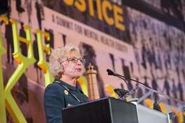 Illinois Supreme Court Justice and founding member of the Kennedy Forum Illinois Anne Burke speaks at The Kennedy Forum National Summit On Mental Health Equity And Justice In Chicago at the Chicago Hilton and Tower Hotel on January 16, 2018.