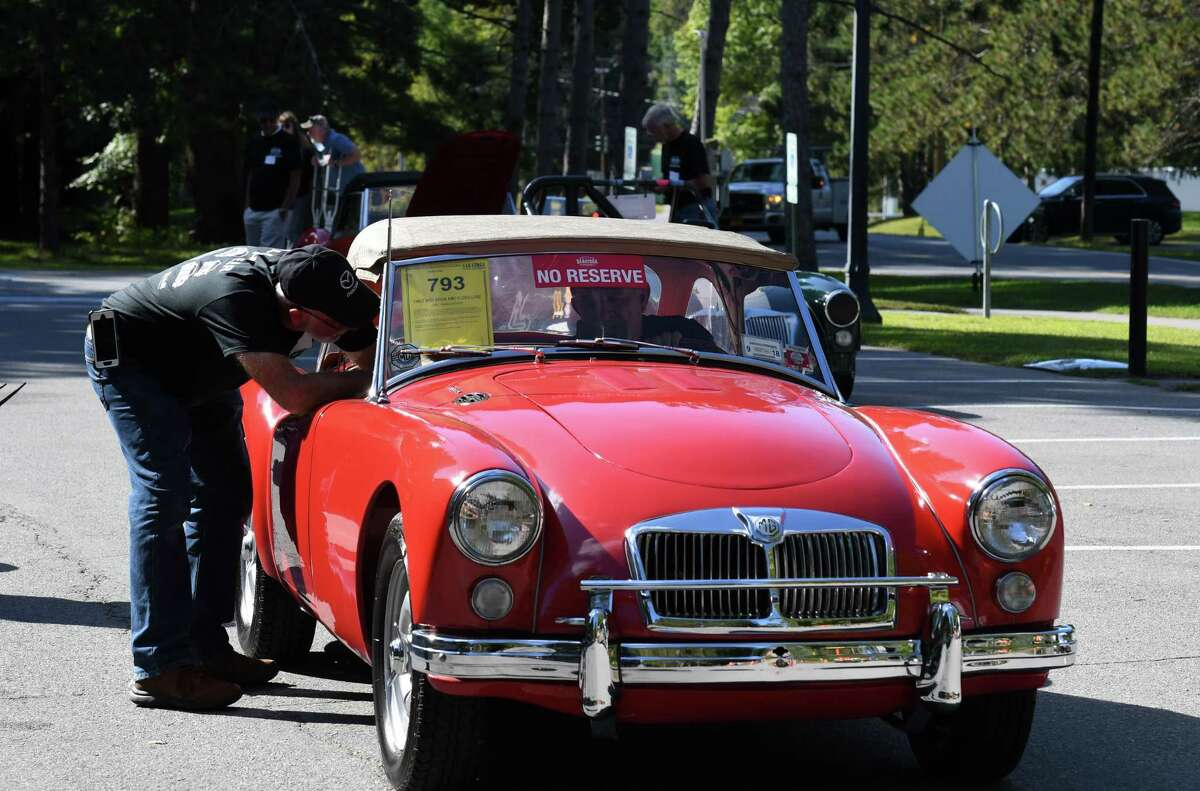 A 1962 MG MGA MKII Deluxe from the Bryan Hanaburgh collection is checked in for the upcoming Saratoga Auto Auction at the Saratoga Automobile Museum on Monday, Sept.16, 2019, at Saratoga Spa State Park in Saratoga Springs, N.Y. Sales take place Friday and Saturday at the Saratoga Performing Arts Center, where buyers can bid on more than 300 vehicles, according to organizers. It is held in support of and presented by the Saratoga Automobile Museum. (Will Waldron/Times Union)