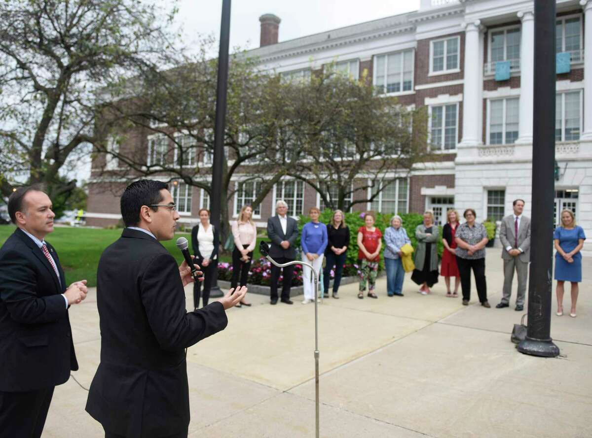 Luis Bardo Guzmán, of the Mexican Consulate on Wheels, speaks during the Mexican Independence Day flag-raising ceremony at Town Hall in Greenwich, Conn. Monday, Sept. 16, 2019. With many Mexican-American Greenwich residents in attendance, the town celebrated its Mexican heritage and influence with a flag-raising and playing of the Mexican National Anthem.