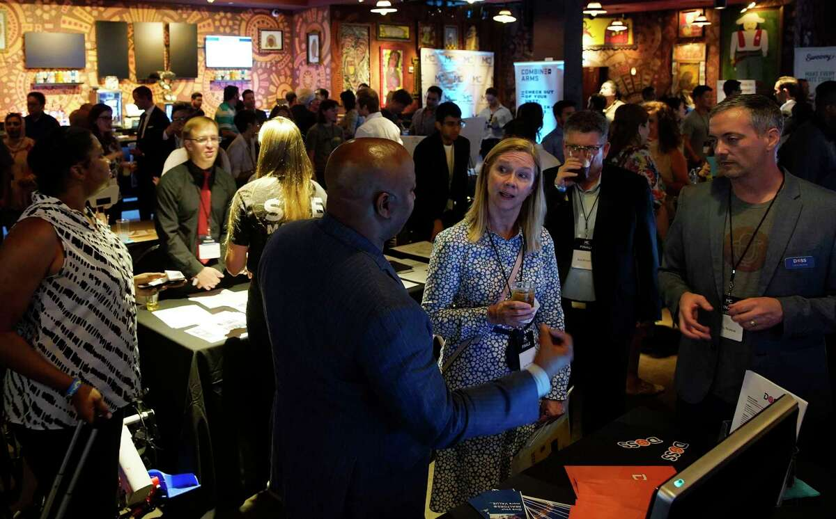 Participants and supporters mingle during MassChallenge's 2019 Finale + Startup Showcase at House of Blues on Thursday, Sept. 5, 2019 in Houston. MassChallenge is an accelerator program with international locations. It opened a Houston location this year, and its first group of students just finished the program.