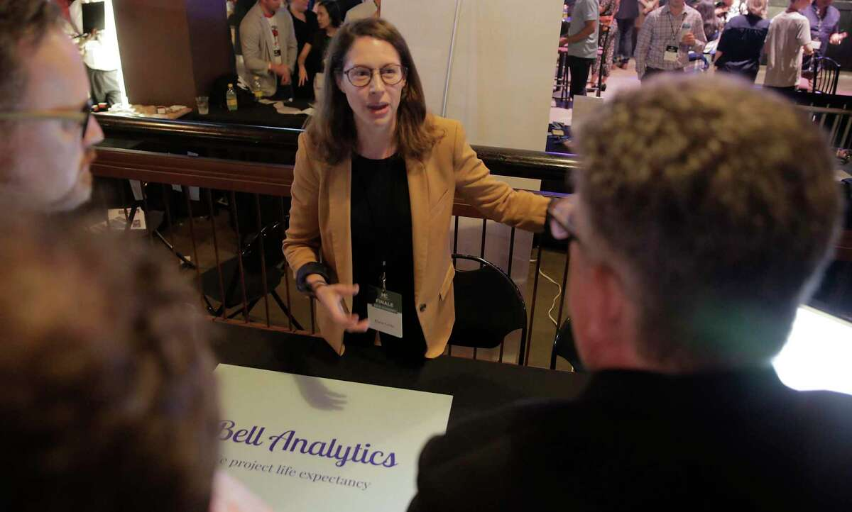 Elaine Preston Gibbs, CEO and co-founder of Bell Analytics, gives her pitch to attendees during MassChallenge's 2019 Finale + Startup Showcase at House of Blues on Thursday, Sept. 5, 2019 in Houston. MassChallenge is an accelerator program with international locations. It opened a Houston location this year, and its first group of students just finished the program.