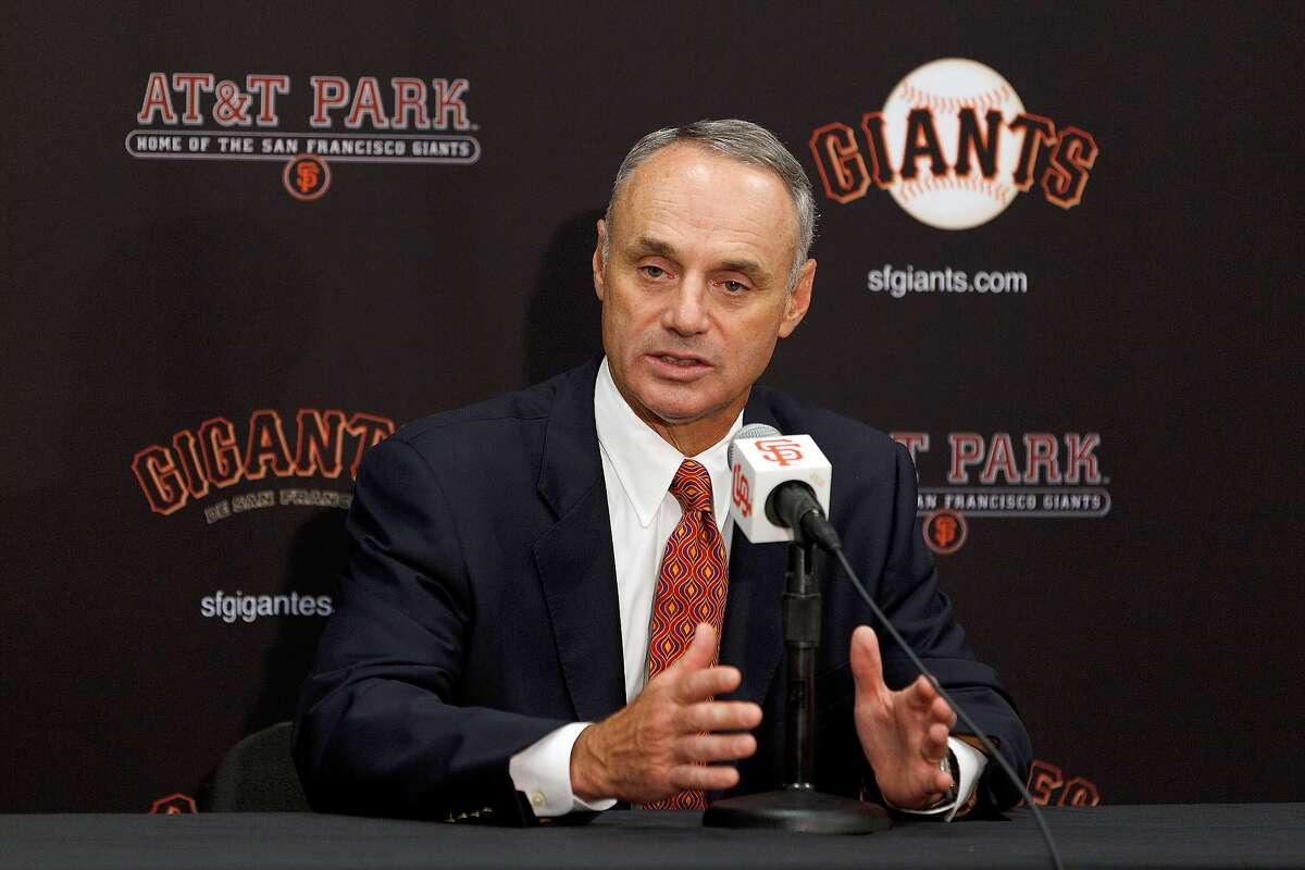 Commissioner of Major League Baseball Rob Manfred speaks during a press conference before the game between the San Francisco Giants and the San Diego Padres at AT&T Park on June 25, 2015 in San Francisco, California. ~~