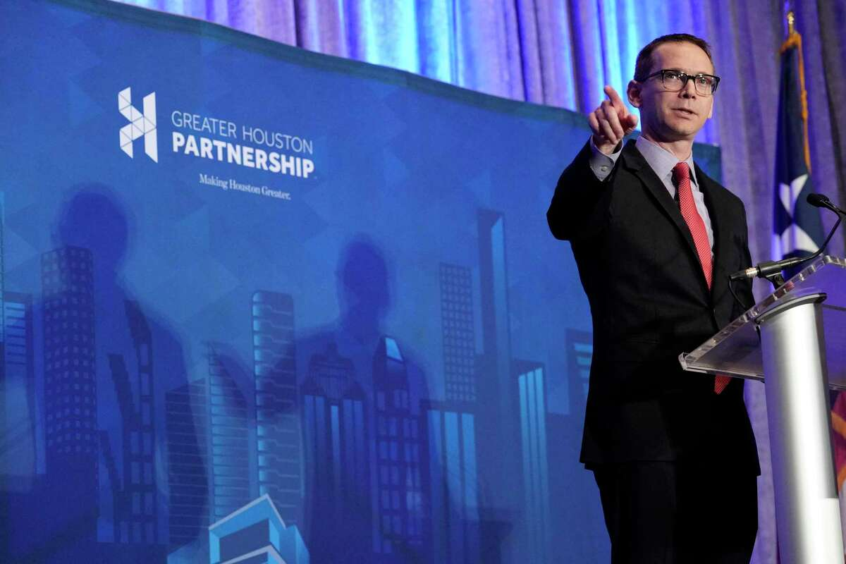 Mike Morath, Texas Education Commissioner, speaks at the Greater Houston Partnership's State of Education event Monday.