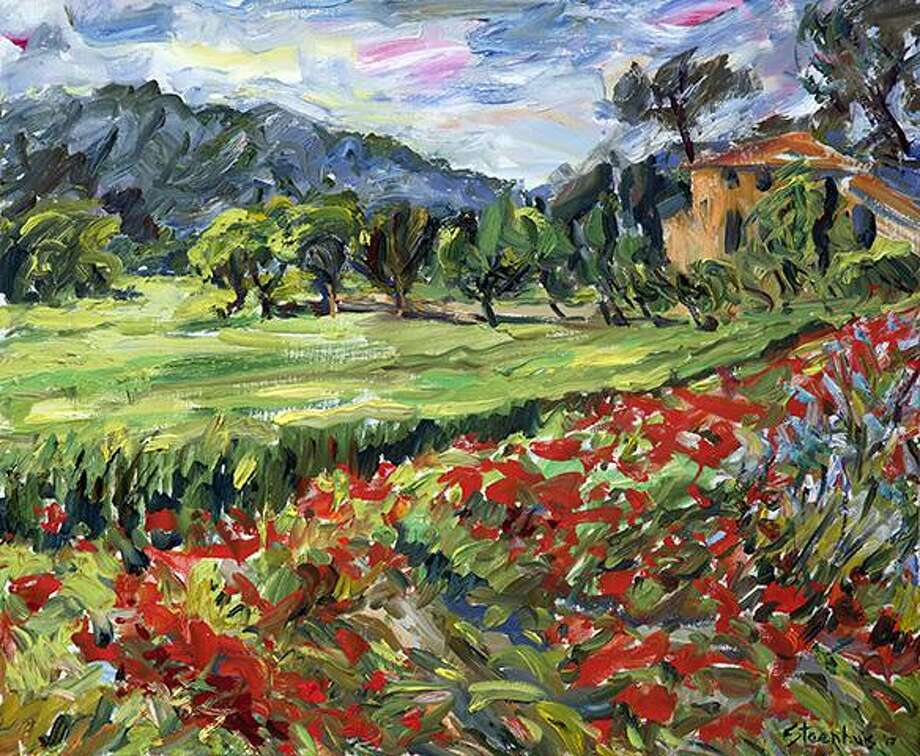 """Wheat and Poppy Fields at Bastide in Luynes,"" and oil on canvas Jill Steenhuis, who will teach a painting workshop in early October at the Silvermine School of Art. Photo: Contributed Photo / Silvermine School Of Art / New Canaan Advertiser Contributed"