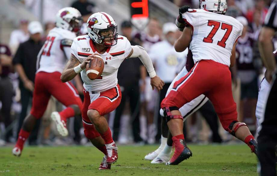 Lamar quarterback Jordan Hoy (1) runs out of the pocket against Texas A&M during the first half of an NCAA college football game, Saturday, Sept. 14, 2019, in College Station, Texas. (AP Photo/Sam Craft) Photo: Sam Craft, FRE / Associated Press / Copyright 2019 The Associated Press. All rights reserved.