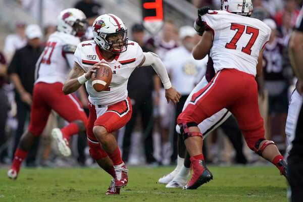 Lamar quarterback Jordan Hoy (1) runs out of the pocket against Texas A&M during the first half of an NCAA college football game, Saturday, Sept. 14, 2019, in College Station, Texas. (AP Photo/Sam Craft)