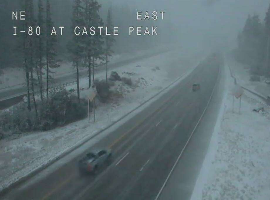 Caltrans shared this photo showing snow at Donner Summit on Sept. 16, 2019. Photo: Caltrans District 3 / Twitter