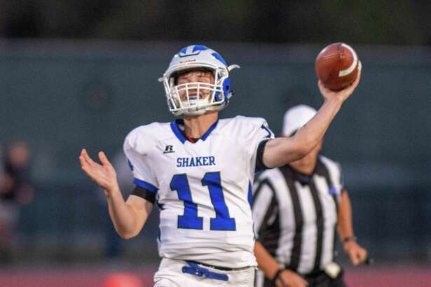 Shaker quarterback Joey Mirabile passes against Shenendehowa during a Suburban Council in Clifton Park NY on Friday, Sept. 13, 2019 (Jim Franco/special to the Times Union.)