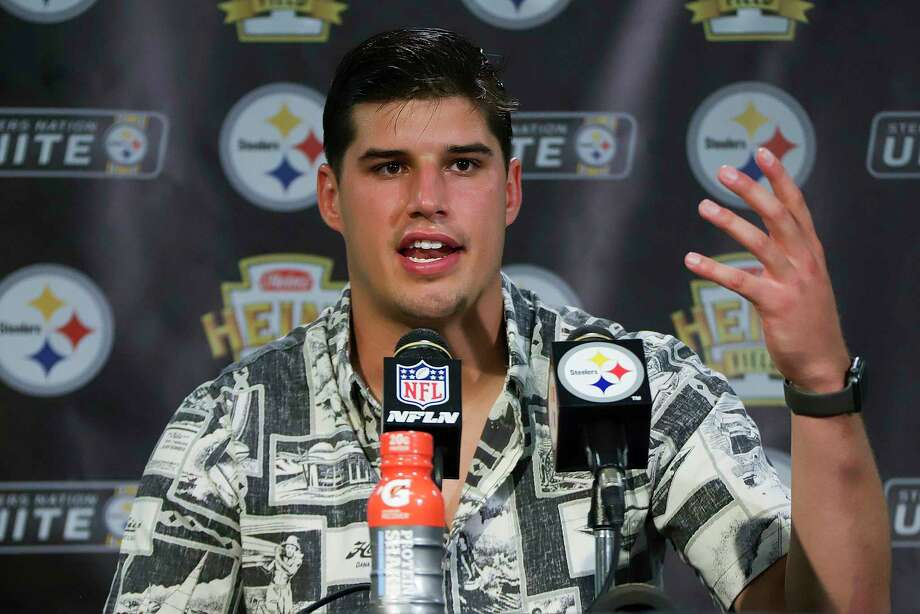 Pittsburgh Steelers quarterback Mason Rudolph meets with reporters after an NFL football game against the Seattle Seahawks in Pittsburgh, Sunday, Sept. 15, 2019. (AP Photo/Gene J. Puskar) Photo: Gene J. Puskar / Copyright 2019 The Associated Press. All rights reserved