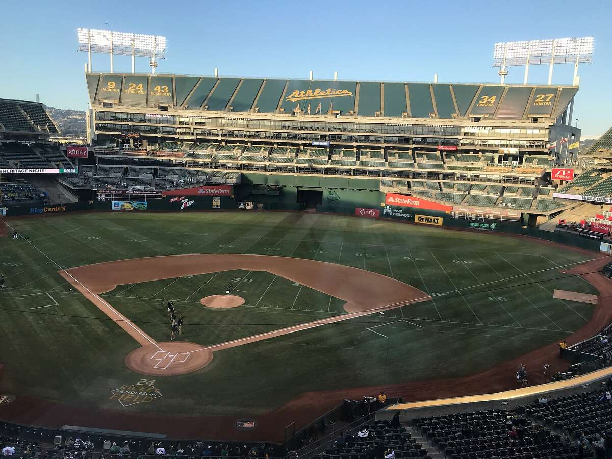 The Coliseum field Monday evening showed signs of the Raiders' game Sunday but was perfectly playable in time for the A's game against the Royals.