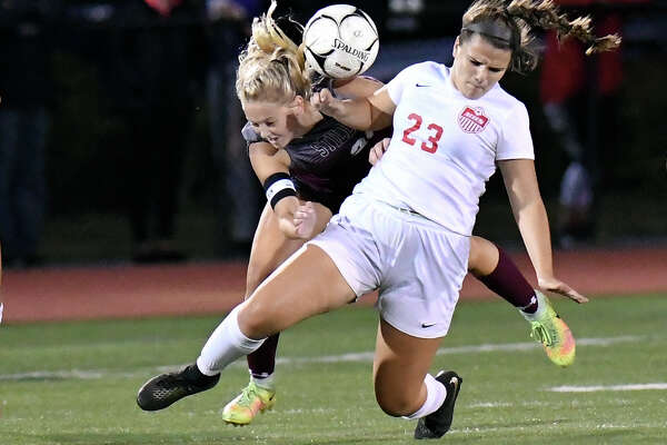 Stillwater's Keelyn Peacock (25) and Mechanicville's Sophie Mastropietro (23) battle for the ball during a Section II girls' high school soccer game in Stillwater, N.Y., Monday, Sept.16, 2019. (Hans Pennink / Special to the Times Union)