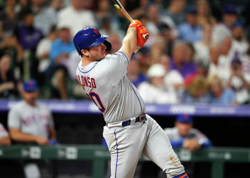 New York Mets' Pete Alonso singles off Colorado Rockies starting pitcher Antonio Senzatela in the fourth inning of a baseball game Monday, Sept. 16, 2019, in Denver. (AP Photo/David Zalubowski)